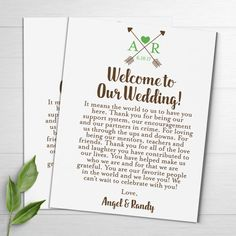 These Wedding Welcome Letters are personalized and perfect to put into your wedding welcome bags for your out of town guests. They can also be placed on your tables at the reception.  ✿TURN AROUND TIMES✿ *Orders cannot be rushed. Please allow at least 1 1/2 weeks from the day your order is placed to the day you receive your kits. Full turn around details are listed in the process below. *If you need to re-order additional items from a previous order, we will skip the design phase and your…