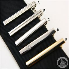 Mens Retro Simple Copper Silver Skinny Tie Clasps Clip Tie-Pins