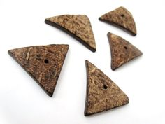 5 Coconut Shell Beads - Chocolate brown - Triangle Shapes Natural Bead (PC225)