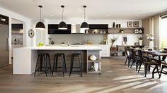 Carlisle Homes: Viera 29 - Featured at Williams Landing Estate European Kitchens, Black Kitchens, Interior Design Gallery, Modern Interior Design, New Home Designs, Cool House Designs, Kitchen Layout, Kitchen Design, Kitchen Ideas