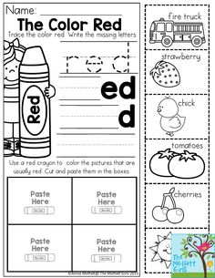 The Color Red- Trace and write the missing letters. Then cut and paste the items that are usually the color red. The Back to School NO PREP Packet for Preschool is loaded with tons of engaging activities to teach colors, numbers, letters, shapes and so much more!