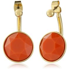 "Trina Turk ""Retro Sport"" 2 Part Stone Drop Gold Orange Drop Earrings ($58) ❤ liked on Polyvore featuring jewelry, earrings, drop earrings, sport earrings, nickel free earrings, retro earrings and trina turk earrings"
