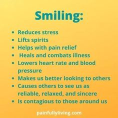 Smile Power! Emotional and Physical Healing - Pain FULLY Living Chronic Stress, Chronic Pain, Fibromyalgia, Chronic Illness, The Miracle Of Mindfulness, Lower Heart Rate, World Smile Day, Complex Regional Pain Syndrome, Major Muscles