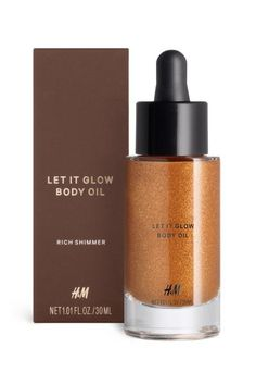 Shimmering body oil: LIMITED EDITION. A luxurious golden bronze oil that adds rich, dimensional shimmer to tanned skin. Formulated with moisturising argan oil and avocado oil. 30 ml. How to use: After showering, gently massage on until absorbed and allow to dry for a few minutes before getting dressed.