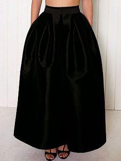Shop Black High Waist Plain Full Maxi Skirt from choies.com .Free shipping Worldwide.$22.9