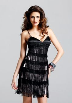 Black Dress With Fringed
