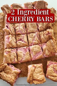 Crazy EASY to make 2 ingredient Cherry Bars Recipe! All you need is cherry pie filling and an angel food cake mix to make this great dessert. These are great for classroom parties, Valentine Cake Mix Desserts, Cherry Desserts, Cherry Recipes, Great Desserts, Cake Mix Bar Cookies, Heart Healthy Desserts, Angel Food Cake Desserts, Christmas Desserts, Angle Food Cake Recipes