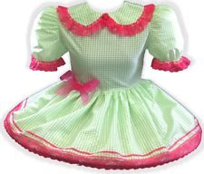 "42"" Green TAFFETA Gingham Adult Little Girl Baby Sissy Dress LEANNE"