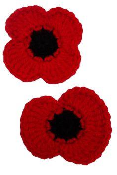 Remembrance Poppy pattern by Sarah Kim Crochet Metal, Knit Or Crochet, Crochet Crafts, Crochet Projects, Free Crochet, Crochet Stitches, Crochet Poppy Free Pattern, Crochet Flower Patterns, Crochet Flowers