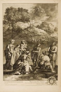 Saint John Baptizing the Pharisees (Left half of print). Gérard Audran. After Nicolas Poussin.