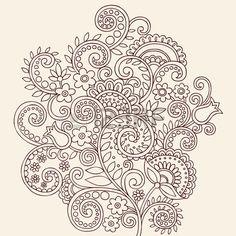 Disegnati a mano Henna Mehndi Paisley Doodle Vines Vector Illustration Design elemento e fiori