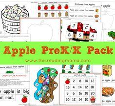 Free printable Apple PreK/K pack