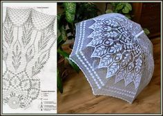 Parasol - or how to connect by a hook an umbrella Filet Crochet, Freeform Crochet, Crochet Diagram, Crochet Chart, Thread Crochet, Irish Crochet, Crochet Doilies, Crochet Stitches, Knit Crochet