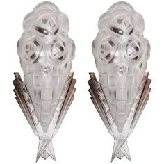 Pair of French Art Deco Sconces  Appliques Signed Degue Rare | From a unique collection of antique and modern wall lights and sconces at https://www.1stdibs.com/furniture/lighting/sconces-wall-lights/
