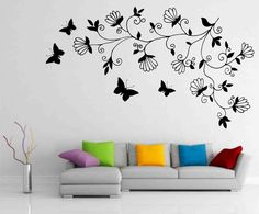 Abstract Dark Tree Butterfly Wall Stickers Decals Art for for Small Modern Living Room Wall Painting Ideas Simple Wall Paintings, Simple Wall Art, Easy Wall, Art Paintings, Painting Art, Bedroom Wall Designs, Living Room Designs, Bedroom Art, Bedroom Ideas