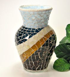 Stained glass mosaic vase steel blue brown by threesisterscandles, $40.00