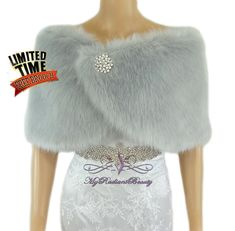Our Silver Grey Faux Fur Wrap style; perfect matching for any color dresses.. this is a must have for your wedding dresses, Evening dresses, Prom dresses... or any special event that you are attending. you get the Luxuries style from this beautiful Silver Grey fur without sacrificing the life of our animal.  We also offer this in the color of white, Ivory, Gray, Grey Chinchilla, Champagne, Plum, Vintage Brown, Navy Blue and Black.  One size fits all, (standard US size)…