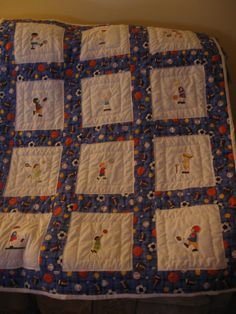 Embroidered Baby Sports Quilt