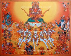 Image result for kerala mural Kerala Mural Painting, Tanjore Painting, Indian Art Paintings, Art Forms Of India, Martial Arts Weapons, Mural Art, Murals, Indian Folk Art, Illusion Art
