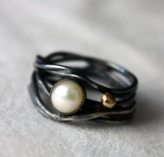 Black Pearl with Gold Caviar Ring from Rachel Pfeffer Designs -