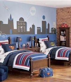 like this city batman superman superhero mural for boys bedroom