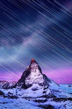 Startrails Matterhorn, Switzerland, by Stanley Chen Xi, on 500px.(Trimming)