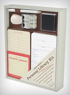 "The perfect gift for the library nerd in your life? | Offbeat Home ""I mean, it's got a date stamp! It's got self-adhesive pockets and checkout cards, and even its own little fussy pencil."""
