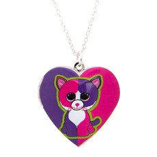 bfb19d788bb Ty Beanie Boos Pellie the Pink and Purple Cat Heart Locket Pendant Necklace  Beanie Boo Party