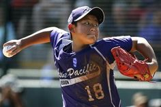 South Korea's Jae Yeong Hwang (18) delivers in the first inning of the Little League World Series championship baseball game against Chicago in South Williamsport, Pa., Sunday, Aug. 24, 2014. (AP Photo/Gene J. Puskar) ▼24Aug2014AP|Hwang, Choi lift S. Korea past Chicago to win LLWS http://bigstory.ap.org/article/hwang-choi-beat-chicago-south-korea-wins-llws