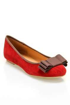 Red Suede Flat with a Brown Bow.