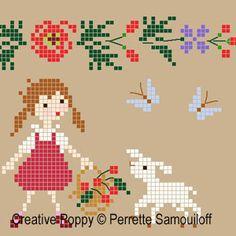 Perrette Samouiloff - Agneaux dans un champ de coquelicots, zoom 1 (grille de broderie point de croix)