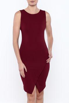 Textured burgundy bodycon dress with a round neckline. wrap front skirt and zipper closure. Textured Bodycon Dress by She & Sky. Clothing - Dresses - Cocktail Palm Beach Florida