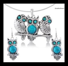 NEW - TIBETAN SILVER BLUE TURQUOISE OWLS PENDANT COLLAR NECKLACE & EARRINGS SET