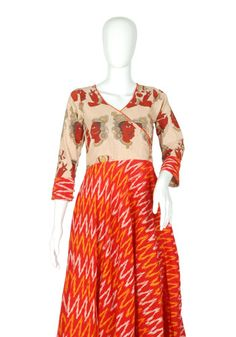 Red Ikat and Kalamkari Angrakha Anarkali – Desically Ethnic