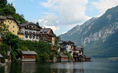 Download wallpapers Hallstatt, mountains, Alps, mountain lake, mountain landscape, small town, Austria