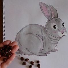 Instagram photo by sweet_strawberry - part 2 お食事中の方……失礼しま~す! #うさぎ#rabbit#グレー#似顔絵#見返り美人#うんこ#麦チョコ#チョコレート#コラボ#おやつ#とったどー#お尻#絵#drawing#イラスト#illus...