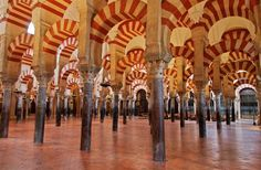 Cordoba Mosque interior with nearly 900 columns, all of which were salvaged from a Roman temple previously on the same site