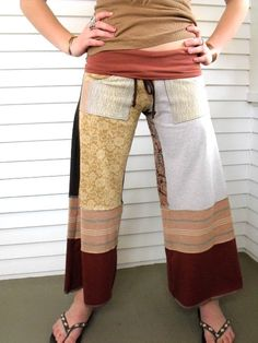 Upcycled Clothing patchwork Eco  Gaucho PANTS repurposed  by zasra