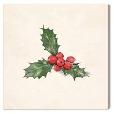 Add a festive look to your space this holiday season with the Oliver Gal Mistletoe Canvas Wall Art , featuring a bright green and red holly sprig. Painted Christmas Cards, Watercolor Christmas Cards, Christmas Drawing, Noel Christmas, Christmas Paintings, Watercolor Cards, Christmas Crafts, Christmas Decorations, Xmas Drawing
