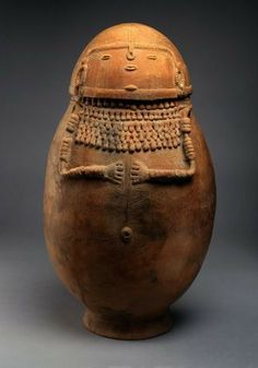 "Female-effigy ceramic burial urn, Northern Andes, Columbia, South America, 1,000–1,500 AD. 23 x 40"" in circumference"