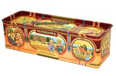"""Klinkhamer echte Groninger Koekblik  Mooi nostalgisch blik voor ontbijtkoek of peperkoek van Klinkhamer. Voorzien van teksten als:  """"Van rogge, vruchten en kandij bakt Klinkhamer een Groninger lekkernij"""".  """"Klinkhamerkoek is luchtig want het beste graan komt van het Hogeland"""".  Schitterend zo'n oud blik voor ontbijtkoek. zie: http://www.retro-en-design.nl/a-43116116/blikken/klinkhamer-echte-groninger-koekblik/"""