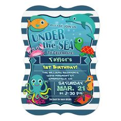 Happy Birthday! Super cute, kid's fun sea life, under the ocean nautical theme neutral birthday party invite on midnight blue and white stripes with bright colors for boy or girl.  Colorful, aquatic, cartoon sea creatures include aqua and yellow octopus, green and orange sea turtle, teal and orange fish, turquoise dolphin, orange seahorse, light pink crab, and orange and pink coral on the ocean floor.  Funny fonts appear to be floating underwater with bubbles in the background. 1st, first…