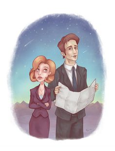 Mulder Scully- 8.5x11in X-Files Illustration/Art Print