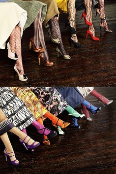 Pretty shoes & tights! Photo by Phil Poynter for Vogue Pelle
