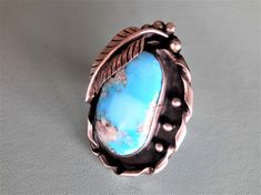 Turquoise and Sterling Silver Ring Navajo by vintagesouthwest