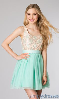 Short Green Sequin Junior Party Dress- Simply Dresses