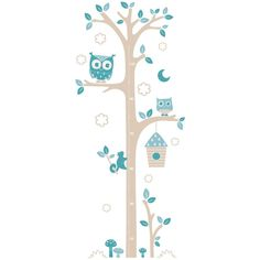 Sticker chambre bébé Toise chouettes (G&B)