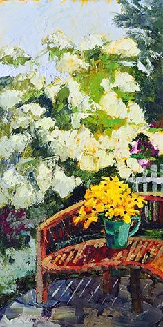 """Brilliant Susans In The Garden by Roxanne Steed Oil ~ 16"""" x 8"""""""