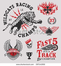 Find Vintage Racing Emblem Graphics stock images in HD and millions of other royalty-free stock photos, illustrations and vectors in the Shutterstock collection. New T Shirt Design, Shirt Print Design, Tattoo Graphic, Graphic Tees, Badge Design, Logo Design, Rockabilly, Tiger Artwork, Flash Art