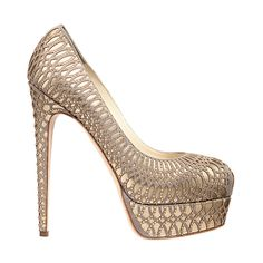 Brian Atwood – Hamper Pumps Taupe suede / Gold leather